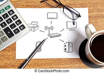 wireless scheme - Note with wireless scheme on table...