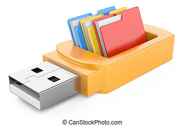 usb flash drive and folders isolated on white background 3d...