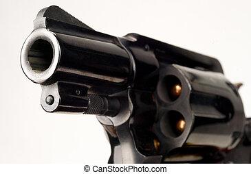 38 Caliber Revolver Pistol Loaded Cylinder Gun Barrel...