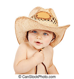 Little cowboy - Cute baby boy wearing big cowboy hat...