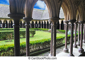 The monastery garden in the abbey of Mont Saint Michel. Normandy, France