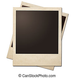 Vintage instant photo polaroid frames isolated Clipping path...