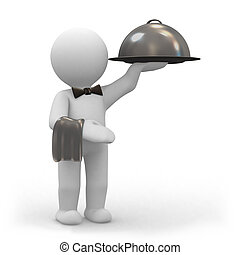 Waiter with food platter - 3d human waiter with a big food...