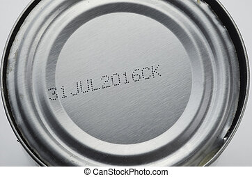 Can Top With Expiration Stamp - Top of an aluminum can of...