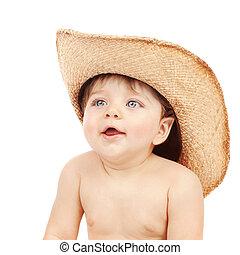 Baby boy wearing stetson - Closeup portrait of sweet little...