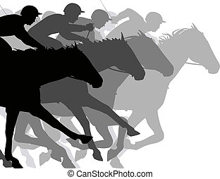 Close race - Editable vector silhouettes of a very close...