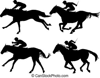 Racing horses - Editable vector silhouettes of racing horses...