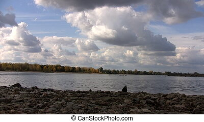Clouds over the Ob River in autumn