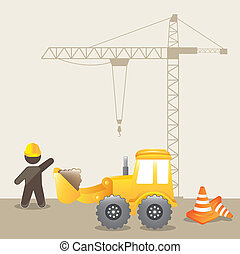 under construction background with man cartoon. vector...