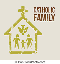 catholic family over beige background vector illustration