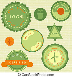 Collection of retro green organic labels