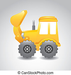 excavator cartoon over gray background. vector illustration