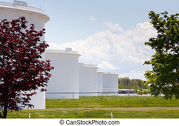 Oil Storage tanks in Sarnia Ontario - A row of Oil storage...