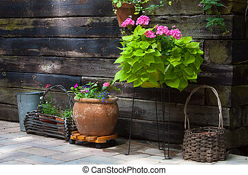 Patio Garden - A rustic patio garden at a Northern Ontario...