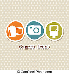 photography icons over beige background vector illustration
