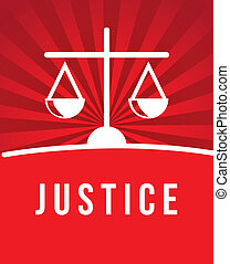 justice icon over red background. vector illustration