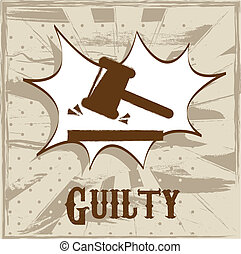 guilty symbol over beige background vector illustration