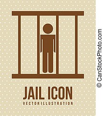 jail icon over beige background vector illustration