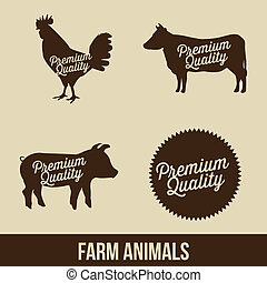 farm animals over beige background. vector illustration