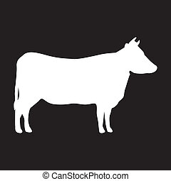 silhouette cow over black background. vector illustration