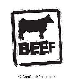 beef vector - beef seal over whitebackground vector...