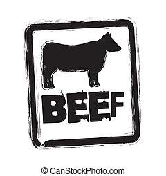 beef vector - beef seal over whitebackground. vector...