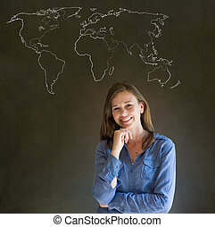 Businesswoman, teacher or student with world geography map...