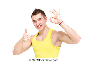 Happy man giving okay sign portrait over isolated white...