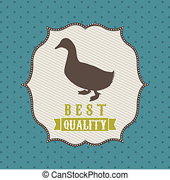 duck meat over blue background. vector illustration
