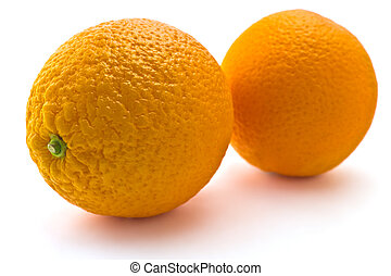 Juicy oranges on a white background