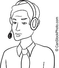Customer support man talking with headset