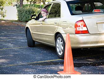 adolescente, dirigindo, teste, -, estacionamento