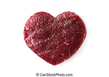heart - beef heart isolated on white