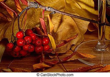Rowanberry and yellow leaves on wooden tabletop