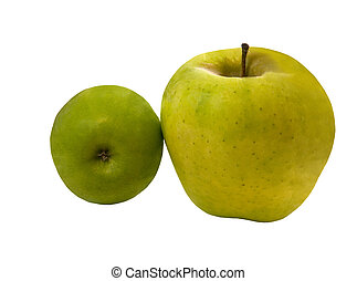 BIG AND SMALL GREEN APPLES - 2 green apples, isolated