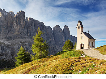 Nature landscape with nice church in a mountain pass in...