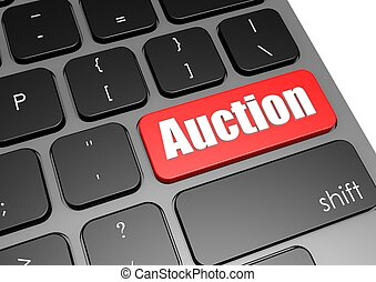 Auction with black keyboard - Rendered artwork with white...