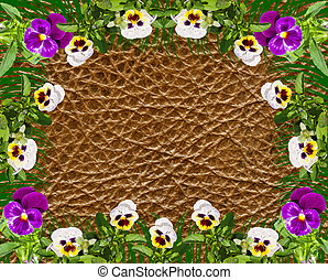 bright beautiful flowers on a leather surface, background,,of collage
