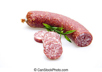 Garlic sausage with plant branch