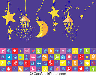 Baby night banner with star, moon, funny objects