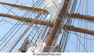 Mast of a Barkentine sailing vessel - Mast and yards of a...