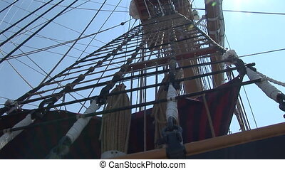 Rope ladder of a sailing ship - Rope ladder and masts of the...