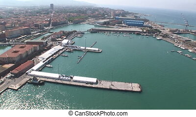 Port of Livorno, Italy - Aerial view of the port of Livorno...