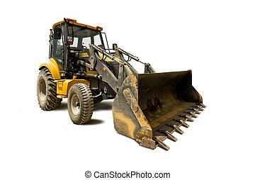 bulldozer - yellow bulldozer isolated on white