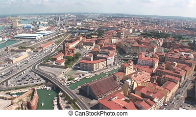 Aerial view of Livorno, Italy - Aerial view of city and port...