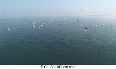 Sail boats at sea - Aerial view of sail boats far away at...