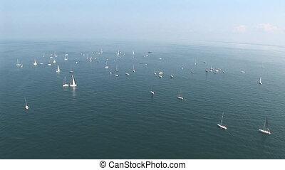Sail boats at sea - Aerial view of sail boats far away at...