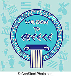Welcome to Greece travel sticker on greek patern background,...