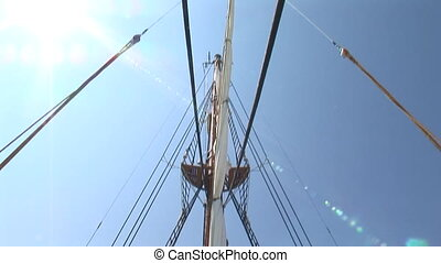 Mizzenmast and poop deck of sailing