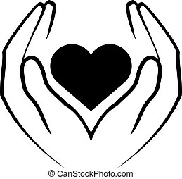 hands holding heart - Vector icon - hands holding heart